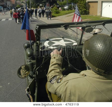 Us Gi Driving An Old Jeep