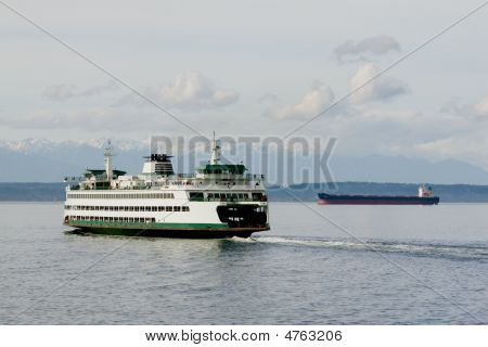 Ferry, Freighter And Mountains