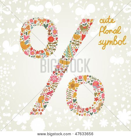 Percent symbol in vector. Bright floral element of colorful alphabet made from birds, flowers, petals, hearts and twigs. Summer floral ABC element in vector