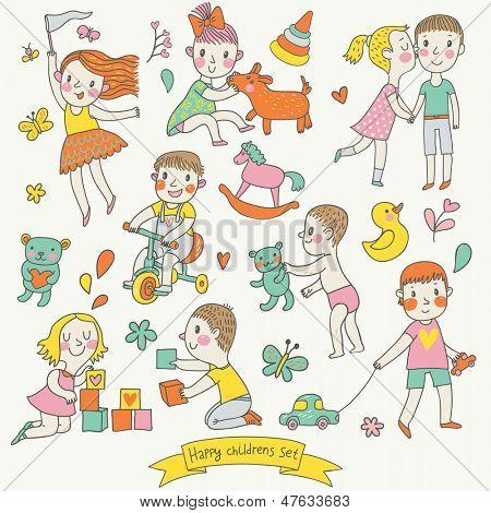 Vector infantil en estilo de dibujos animados. Graciosos niños y niñas jugando con juguetes, montando una bicicleta y p