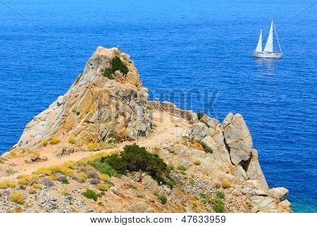 Cliffs on The Enfola Peninsula - Cape of Enfola. The Elba Island, Italy, Europe.