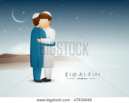 Two Muslim young boys in traditional dress hugging and wishing each other in shiny moonlight night on occasion of Eid Al Fitr (Eid Mubarak).