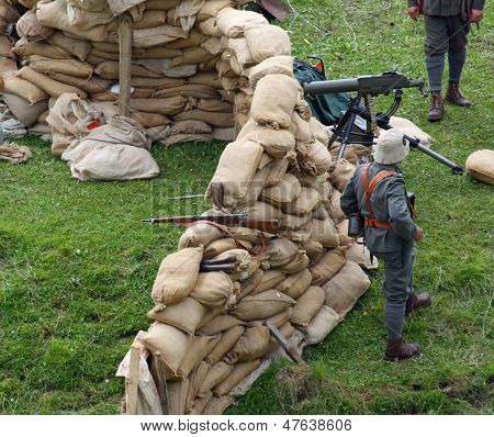 Sentinel Soldiers Inside The Fort Made With Sandbags