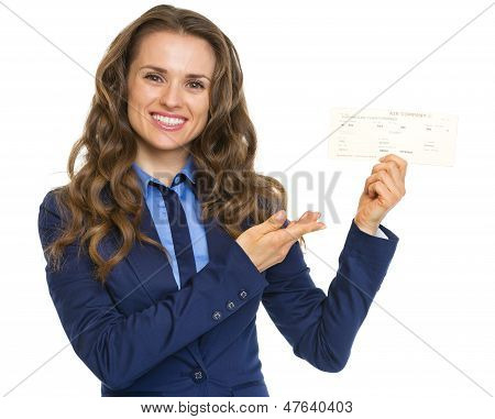 Smiling Business Woman Pointing On Air Tickets