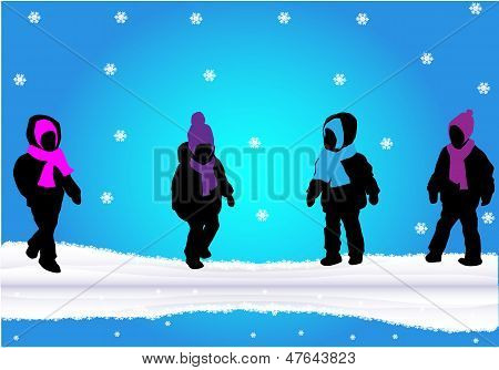 Silhouettes Of Children-winter Scene