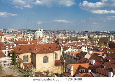 View at the old and beautiful part of Prague - Mala Strana (the Little Quarter) from the Prague castle. Czech republic
