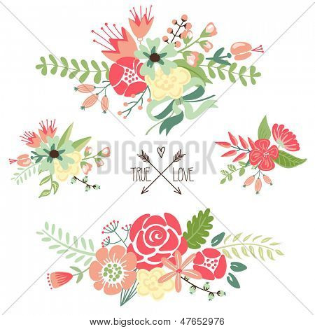Cute floral bouquets, retro flowers