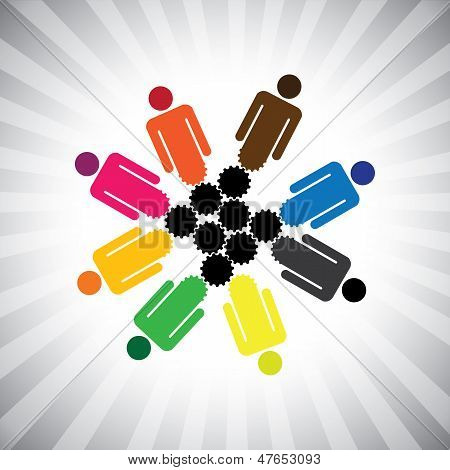 People Community As Cog Wheels Working In Harmony- Simple Vector Graphic