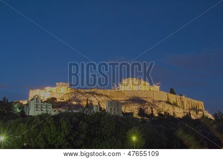 Acropolis of Athens illuminated Greece