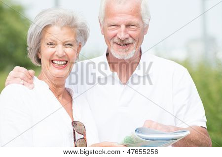 Smiling and actice senior couple