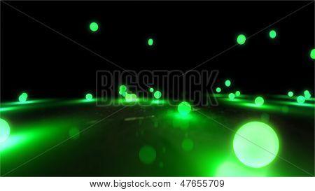 Green Bouncing Light Balls Closeup