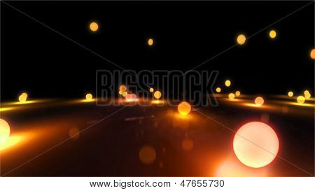 Orange Bouncing Light Balls Closeup