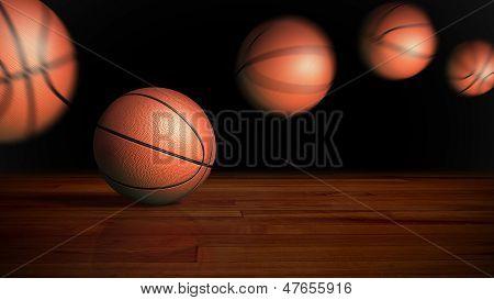Basketball Bouncing On Wood Floor