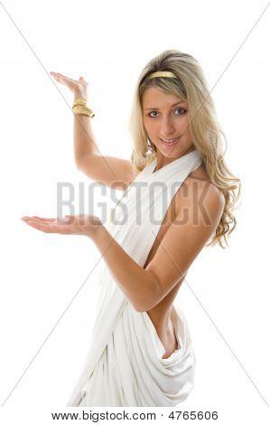 Girl Dressed Like A Greek Raising Arm.