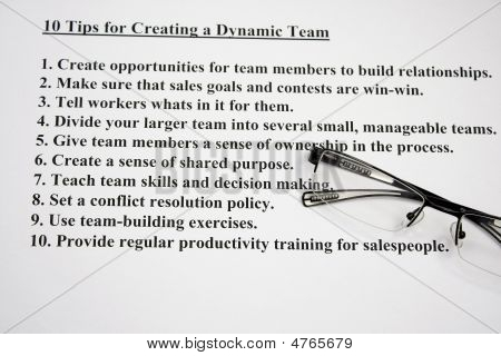 Ten Tips For Creating A Dynamic Team