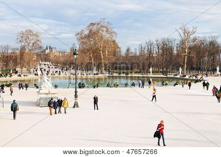 Pond (grand Basin Octagonal) In Tuileries Garden, Paris