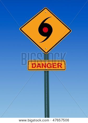 road sign with tornado icon and danger warning over sky