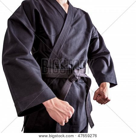 Karate Fighters In Black Kimono