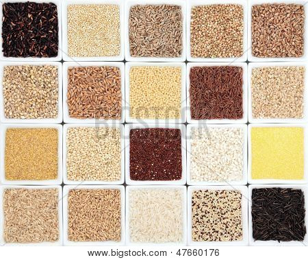 Large healthy grain food selection in white dishes.