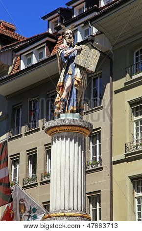 Sculpture Of Moses Holding The Ten Commandments, Bern, Switzerla