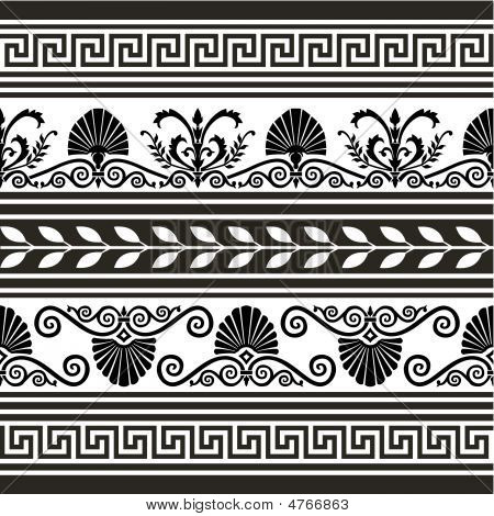 Set Of  Antique Vector Elements And Borders