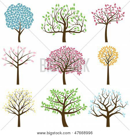Vector Collection of Stylized Tree Silhouettes