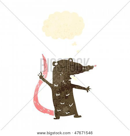 retro cartoon rat with thought bubble