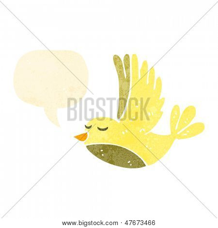 retro cartoon flying bird with speech bubble