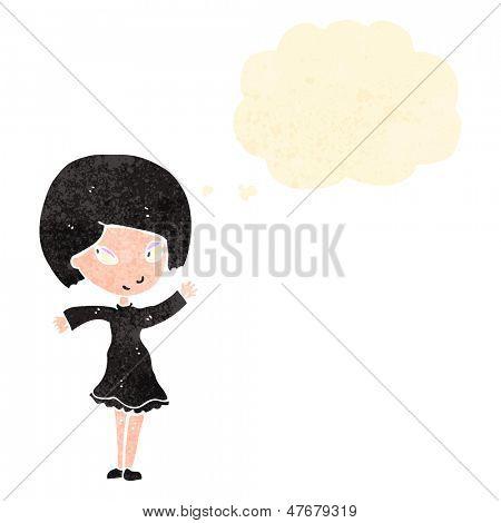 retro cartoon happy goth girl