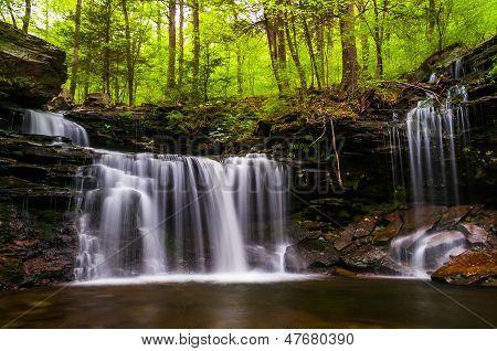 Waterfall On Kitchen Creek In Ricketts Glen State Park, Pennsylvania.