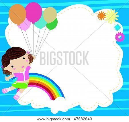 balão e menina bonito dos desenhos animados