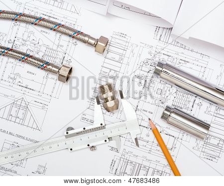 plumbing and drawings, construction still life