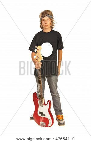 Rocker Teen Boy With Bass Guitar