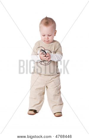 1 Year Baby With Phone Over White Background