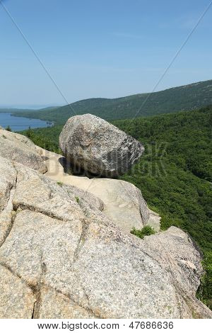 Bubble Rock on top of the South Bubble Mountain At Acadia National Park, Maine, USA