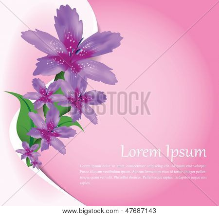 Vector floral illustrated background for greeting card, poster or wedding invitation