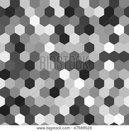 Hexagon seamless pattern in shades of grey, vector