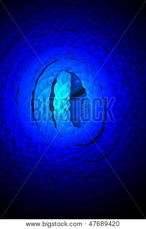 Magic Blue Light Over Sea Cord On Wooden Surface, Round Bulk