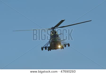 PUMA helicopter performs a demonstration flight