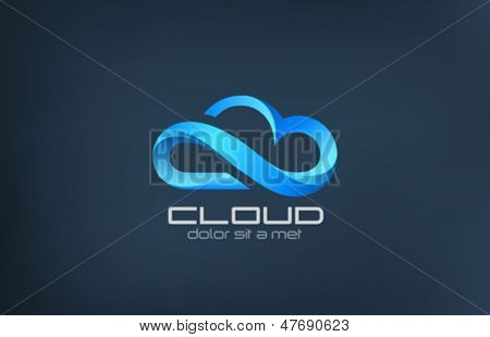 Cloud computing logo vector design template. Creative business concept icon processing in the clouds