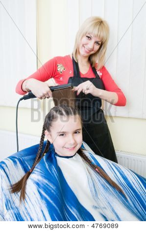 Little Girl Getting Her New Haircut