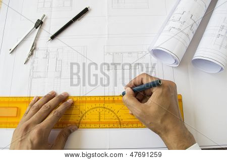 Architect Designing A Plane