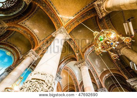 BARCELONA - JUNE 07: Interior of Temple Expiatori del Sagrat Cor on June 07, 2013 in Barcelona, Spain. The construction of the temple lasted from 1902 to 1961.