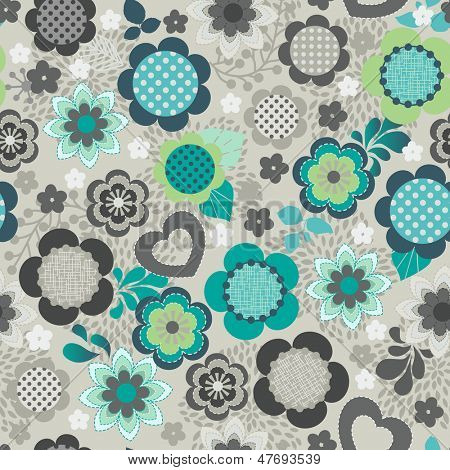 Floral black and white seamless vector background