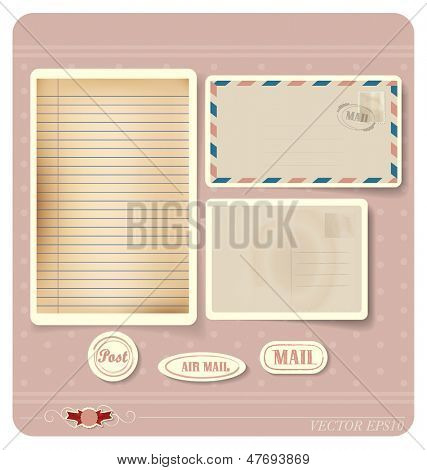 Vector illustration of a blank grunge paper, postcard and envelope.