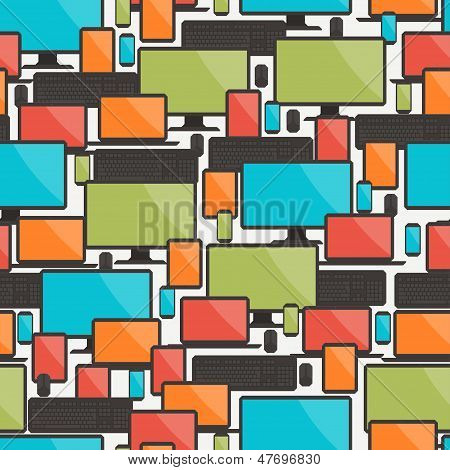 Seamless pattern with electronic devices.