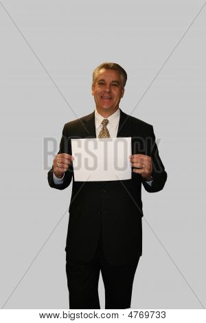 Business Man Holding Sign