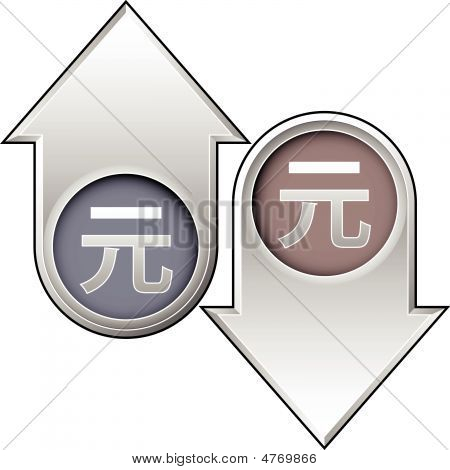 Chinese Yuan Currency Icon On Up And Down Arrow Buttons