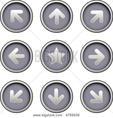 Direction Arrow Icons On Modern Vector Buttons