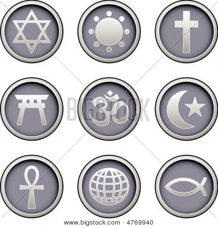 Religious Icons On Modern Button Set